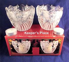 Gorham ANGELS OF PEACE Crystal Votive Tealight Holders Set Of 2 With Box