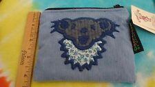 Grateful Dead Gray Bear Head Pale Blue 4.25 x 5 Inch Corduroy Zipper Coin Pouch