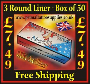 Sexy PinsTattoo Needles 3 Round Liners Box of 50 - (Tattoo Supplies - Grips)