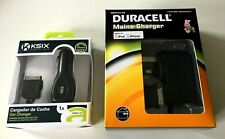 2 x Apple iPod Chargers 30 Pin - Duracell Mains Charger & Ksix Car Charger Duo