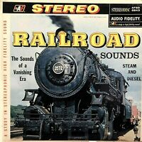 "RAILROAD SOUNDS Steam and Diesel 12""LP 1958 Audio Fidelity 5843 Locomotiv VG+/EX"