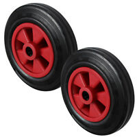 2x 200MM Black Rubber Tyre with Red Plastic Centre Sack Truck Wheel