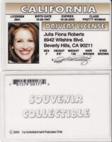 Actress Julia Roberts PRETTU WOMAN  California CA Drivers License FAKE ID card