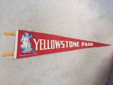 Vintage Yellowstone felt flag with Old Faithful Graphic