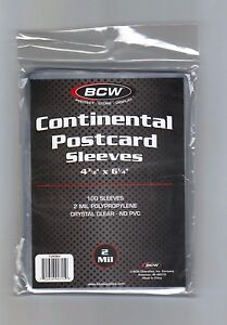 "(100) BCW Continental Size Postcard Sleeves 4 3/8"" x 6"" For Larger Postcards"