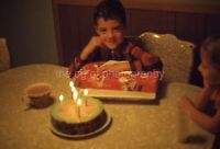 BIRTHDAY BOY Vintage 35mm FOUND SLIDE Transparency CAKE Original Photo 10 G
