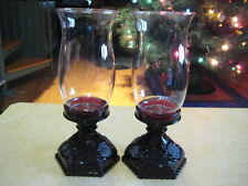"""(AVON) CAPE COD COLLECTION Ruby Red """"Pair (2) 10-3/4"""" Tall Hurricane Lamps"""""""