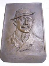Hermann Löns : Reliefiertes Retrato en Bronce Placa : Firma: H.Thierer