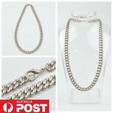 Thick 9mm Dog Chain Link Heavy Necklace Chunky Hip Hop Silver Tone Mens Fashion