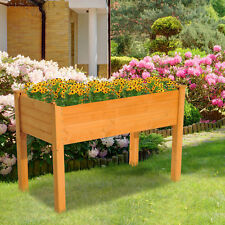Rectangular Wooden Raised Garden Bed Vegetable Planter Outdoor Gardening Kit