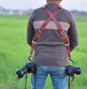 Genuine Premium Brown Buffalo Leather Dual Multi Camera Harness Shoulder Strap