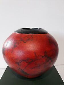 """Handmade Studio Pottery Horse Hair Vase Red-orange  6"""" Signed"""