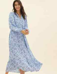 MARKS AND SPENCER PER UNA DITSY FLORAL MAXI TIERED DRESS BLUE MIX COLOUR SIZE 20