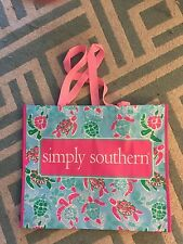 New Simply Southern Re-Useable Lightweight Shopping Bag Pink Turtles