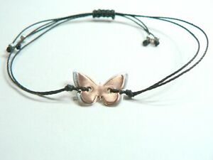 Butterfly Macrame Cord Bracelet. Sterling Silver And Copper