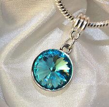 Birthstone Crystal Dangling Silver Pendant Bead Charm Bangle Bracelet Gift Box