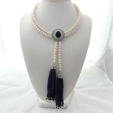 "K112406 2 Strands 18"" White Pearl Blue Jade Necklace CZ Pendant"