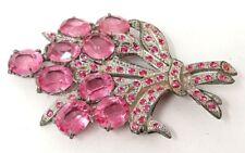 Vintage ART DECO GLASS FLOWER Pink RHINESTONE POT METAL Bouquet  BROOCH PIN