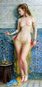 """YA1835 CANVAS ART OIL PAINTING BEAUTIFUL SEXY GIRL HAND-PAINTED UNFRAMED 24""""X48"""""""