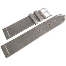 22mm ColaReb Venezia Grey Leather Made in Italy Aviator Watch Band Strap