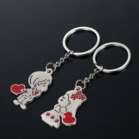 Couple Gift Key Ring Fob Metal Bride Groom Heart Love Keychain 1 Pair KQ
