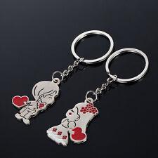 1 Par Good  Couple Gift Key Rings Fob Metal Brides Groom Heart Love Keychain CA