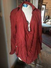 Haute Hippie Women's Blouse Silk Scoop cowl Neck long sleeves blouse top L