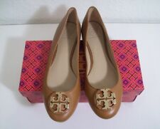 Tory Burch Claire Ballet Flats Royal Tan Leather Sz 7.5 New In Box FREE SHIPPING