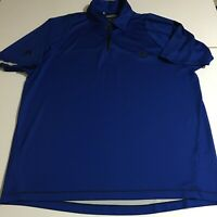 Adidas ClimaCool Mens Large Blue Golf Polo Shirt 1/4 Zip