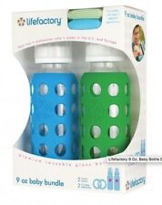 9oz LifeFactory Glass Baby Bottle Bundle NEW w/Silicone Teethers — Blue/Green