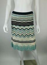 M Missoni IT 40/ US 4 Merino Wave Knit Blie Black Ivory Gold Lurex Stretch Skirt