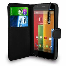 BLACK WALLET Leather Case Phone Cover for MOTORALA MOTO G 1 generation 2013 UK