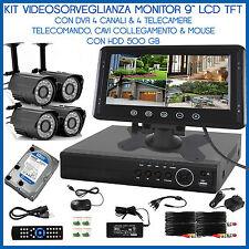 """Videosorveglianza Kit Dvr 4Ch Visione Web iphone 4 Telecamere Monitor 9"""" +4 Cavi"""