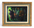 """Midcentury Iver Rose """"Waiting for the Cue"""" Oil Painting Circus Performers"""