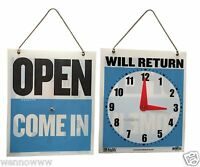 """OPEN COME IN Back WILL RETURN Moveable CLOCK W/ Hanging Chain 7.5""""x 9"""" NEW Sign"""