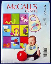 McCalls Baby Applique Bug Bib & Play Quilt Sewing Pattern Patchwork Blanket 7172