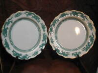 """PAIR OF VINTAGE BOOTH'S GREEN DRAGON GILDED DINNER PLATES  10 1/2 """""""