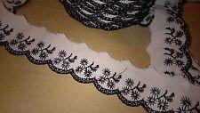 stop destockage !!! 2 m de dentelle coton  col blanc & noir 3,5 cm