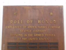 Vintage ARDEN DAIRY ( Military Employees of ARDEN DAIRY) HONOR ROLL PLAQUE