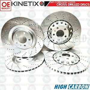 FOR AUDI S6 S7 A8 Q7 E-TRON FRONT REAR CROSS DRILLED BRAKE DISCS 375mm 330mm