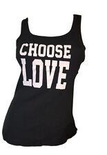 Womens 100% Cotton Plus-Size Ribbed Pajama Tank Top Shirt Sleep CHOOSE LOVE 1x