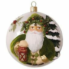 2016 Hallmark EVERGREEN FATHER CHRISTMAS Preminum Glass Blown Ornament NIB $44