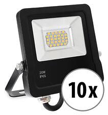 10x Set LED Außen Fluter Licht Strahler Outdoor 3200K wasserdicht schwarz 20W