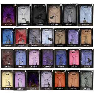 Mens Shirt Tie Set Formal Italian Style Box Office Long Sleeved Wedding Party