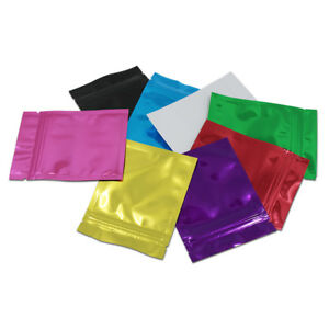 100x Colorful Aluminum Foil Seal Bag Storage Grade Food for Zip Mylar Pouch Lock