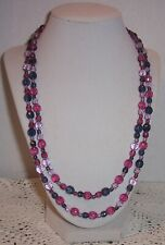 JOAN RIVERS  MULTI COLOR FACETED GLASS BEAD NECKLACE 45''ENDLESS  #13