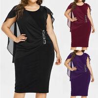 Plus Size Midi Women's O Neck Dress Solid Chiffon Casual Sleeveless Loose Dress