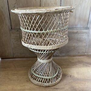 Vintage Plant Stand Twist Base Wicker Rattan Boho Tiki 38cm Tall