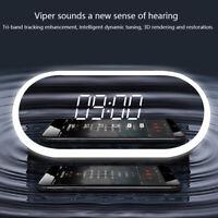Wireless Bluetooth Speaker FM Radio Alarm Clock LED Lamp USB AUX Handfree Mirror