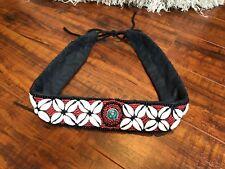 Vintage Cowrie Shell Beaded Turquoise Belt Festival Hippie Boho Ethnic Tribal S